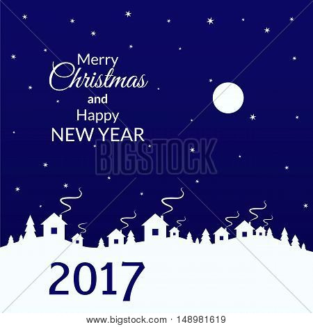 vector illustration. Winter Christmas background trees and houses in the village. Sky moon and stars. 2017