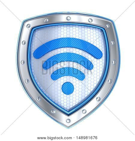 Shield protect wi-fi symbol isolated (done in 3d rendering)