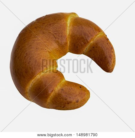 Fresh butter croissant isolated on white background.