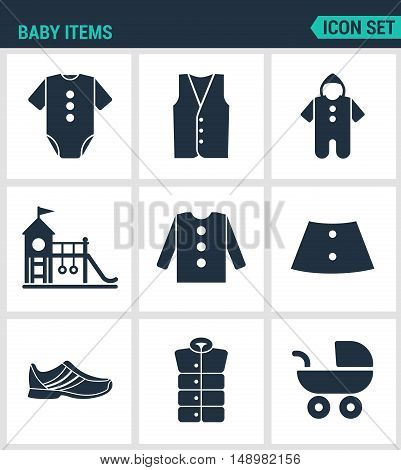Set of modern vector icons. Baby items clothes jacket sweater shirt shoes stroller playground. Black signs on a white background. Design isolated symbols and silhouettes.