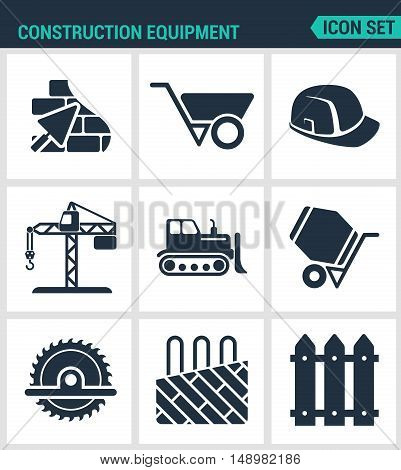 Set of modern vector icons. Construction equipment plaster wheelbarrow helmet crane bulldozer cement mixer saw insulated floor enclosure. Black signs white background. Design isolated symbols.
