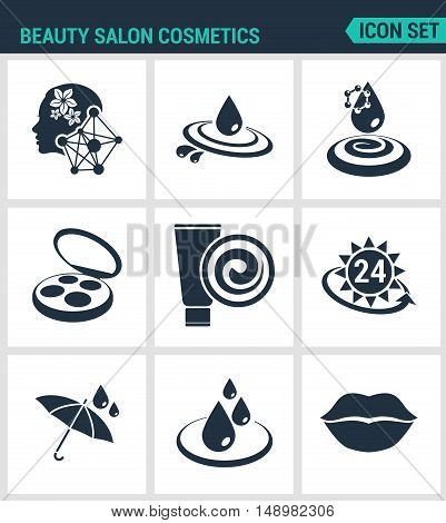 Set of modern vector icons. Beauty salon cosmetics care cream moisturizing sun protection water resistant waterproof lips. Black signs white background. Design isolated symbols silhouettes.