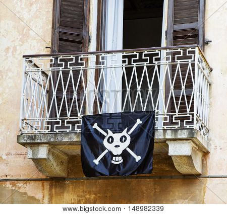 Balcony with pirate flag close up horizontal image