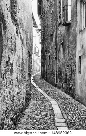 Narrow road black and white vertical image