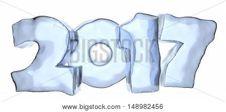 2017 Happy New Year Blue Ice Text Isolated On White