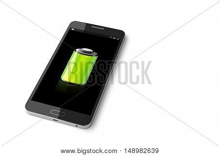 Smartphone with Full Battery icon, Mobile phone Full Battery. 3D illustration
