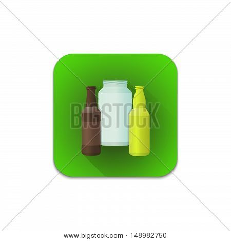 Vector Glass Recycle Waste Icon.
