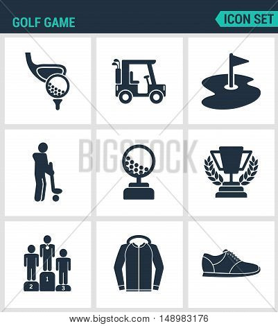 Set of modern vector icons. Golf game car hole flag player ball cup pyadestal reward sportswear sneakers. Black signs on a white background. Design isolated symbols and silhouettes.