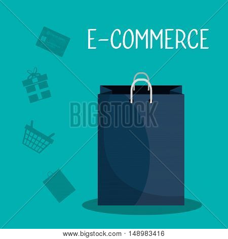shopping bag and online ecommerce icon set. vector illustration