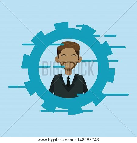 executive person in suit with gear business related icons image vector illustration