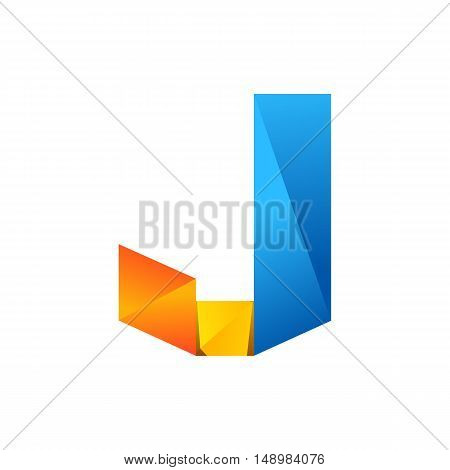 J letter one line colorful logo. Vector design template elements an icon for your application or company