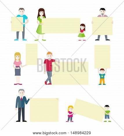 Set of people with blank white banners in various action. Man, woman, boy and girl holding blank banners. Space for text. People message. Flat vector illustration on white background.
