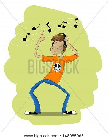 Funny cartoon man in t shirt dances and listening music in headphones. I love music cartoon vector illustration