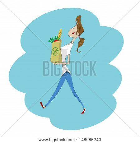 Cartoon woman with paper shopping bag full of healthy food. Vector illustration