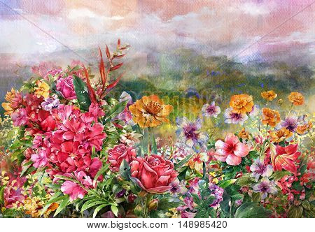landscape of multicolored flowers watercolor painting style.