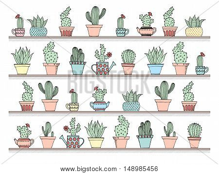 Colorful Background With Cute Cactus Set In Simple Hand Drawn Style. Cute Cartoon Potted Cacti Backg
