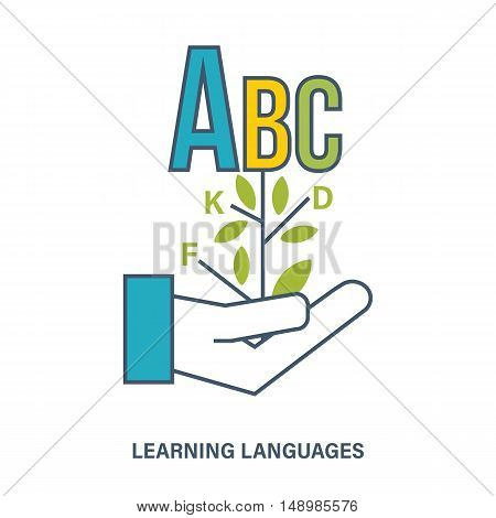 Illustration dedicated to the study of languages, raising the level of education, acquisition of skills of international communication.