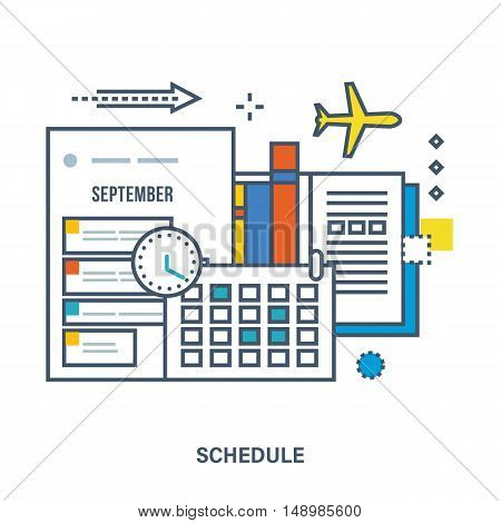 Concept of education, strategic planning. Schedule, planning, calendar and time. Can be used for banner, business data, web design, brochure template. Vector illustration.