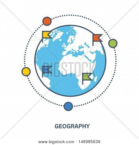 Concept of education. Geography as a subject discipline. Flat Vector illustration. Can be used for banner, business data, web design, brochure template.