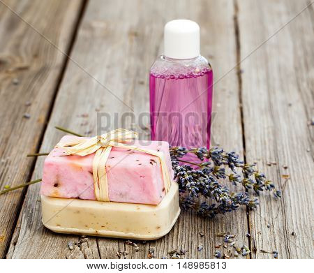 lavender handmade soap bars on wooden background