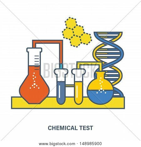 Concept of education. Chemical testing, conducting experiments and equipment research testing. Flat Vector illustration. Can be used for banner, business data, web design, brochure template.