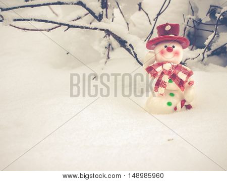 Merry Christmas! Winter Christmas Background With Festive Snowman Wearing A Red Hat, Winter Landscape, Nature Background, Snowy forest, Christmas And New Year Greeting Cards, Perfect Winter Greetings