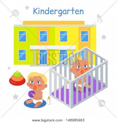 Kindergarten illustration in flat. Two children with nipple play on the floor on the background of kindergarten. Baby in playpen. Baby with nipple. Baby with milk bottle. Baby in flat. Illustration
