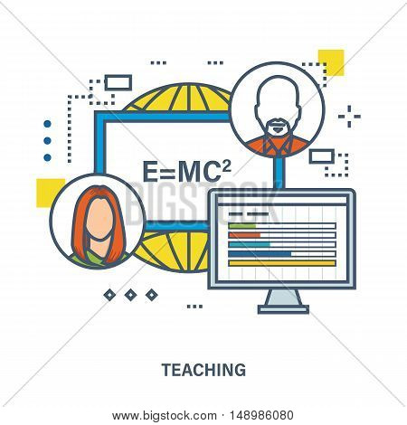 Concept of training, teaching and tutoring. Vector illustration.Can be used for banner, business data, web design, brochure template.