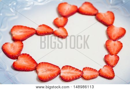 Beautiful Heart Symbol From Chopped Red Juicy Strawberry