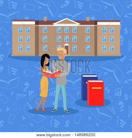 College building isolated on white in flat style. Modern building for college students. Middle educational level. Boy and girl standing near by. Part of series of lifelong learning. Vector