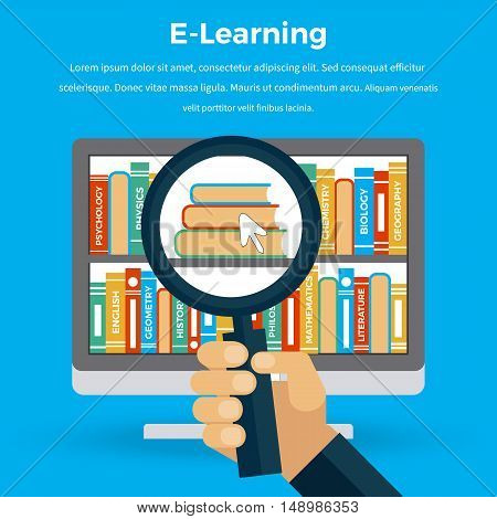 Computer screen with magnifying glass. Online education background. University web, school knowledge, training study, e-learning computer internet, science studying, research information illustration