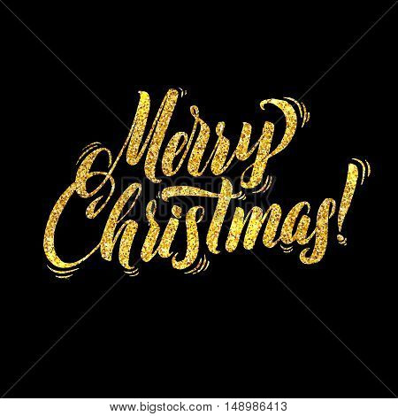 Gold Merry Christmas Card. Golden Shiny Glitter. Calligraphy Greeting Poster Tamplate. Isolated Black Background Glowing Illustration
