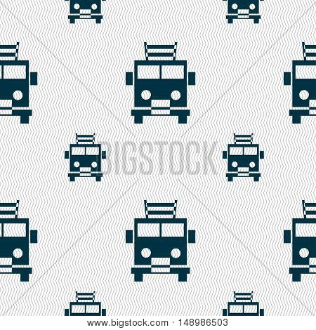 Fire Engine Icon Sign. Seamless Pattern With Geometric Texture. Vector