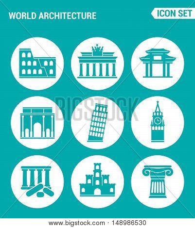 Vector set web icons. World architecture Colosseum gate China Berlin Leaning Tower Big Ben Greek ruins Castle Columns. Design of signs symbols on a turquoise background