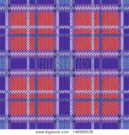 Seamless Knitted Pattern In Violet, Blue And Terracotta Light Colors