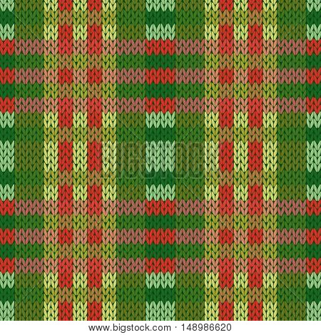 Seamless Knitted Pattern In Green And Red Colors