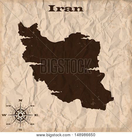 Iran old map with grunge and crumpled paper. Vector illustration