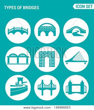 Vector set web icons. KInds of bridges architecture construction. Design of signs symbols on a turquoise background