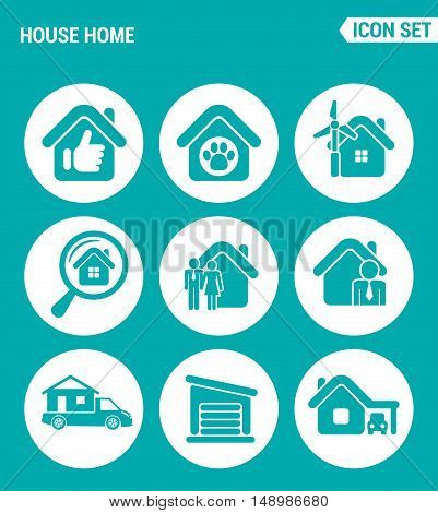 Vector set web icons. House home selling home shelter animal search home family broker motor home garage. Design of signs symbols on a turquoise background