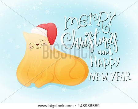 vector illustration of flat style fat ginger cat in santa hat with greeting lettering phrase - merry christmas and happy new year - with snowflakes. Design for greeting card or poster.