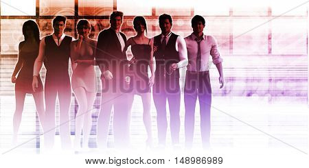Business People Smiling and Empowered Workforce Concept 3D Illustration