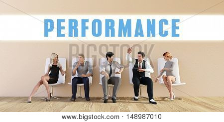 Business Performance Being Discussed in a Group Meeting 3D Illustration