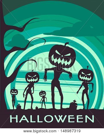 Halloween holiday background. Zombie silhouettes with pumpkins head