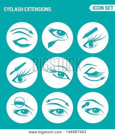 Vector set web icons. Eyelash extensions eyes mascara eye shadow eyebrow eyeliner increasing the volume of eyelashes. Design of signs symbols on a turquoise background