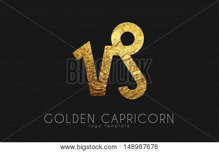 Golden capricorn. Golden zodiac sign. Capricorn zodiac