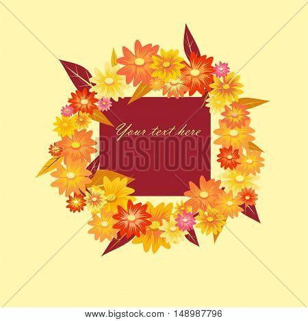 cute flowers autumn wreath on light background