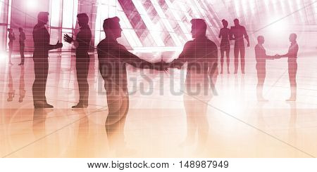 Business People Handshake Greeting Agreement Talking Deal Concept 3D Illustration Render