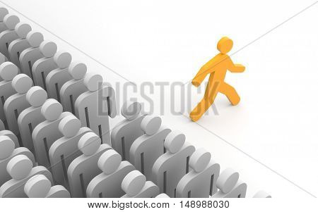 Different people. Run to new opportunities. 3d illustration