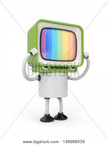 Tv robot. 3d illustration