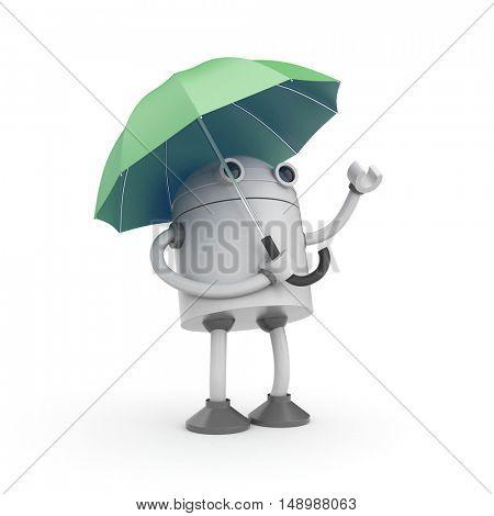 Robot and umbrella. 3d illustration